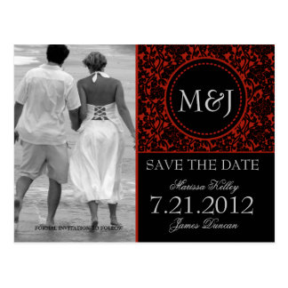 Gothic Black & Red Flourish Save the Date Postcards