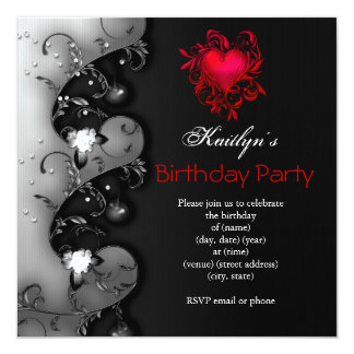 Gothic Black Red Heart Birthday Party 5.25x5.25 Square Paper Invitation Card