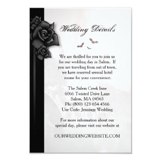 Gothic Black Rose Bats Matching Wedding Details Invitation