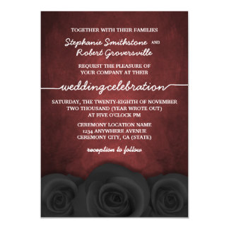 Gothic Black Rose Halloween Wedding Invitations