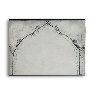 Gothic Black Rose Trellis Wedding Envelope