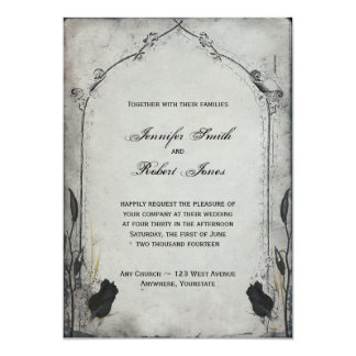 "Gothic Black Rose Trellis Wedding Invitation 5"" X 7"" Invitation Card"