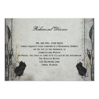Gothic Black Rose Trellis Wedding Rehearsal Dinner Card