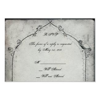 Gothic Black Rose Trellis Wedding Response Card