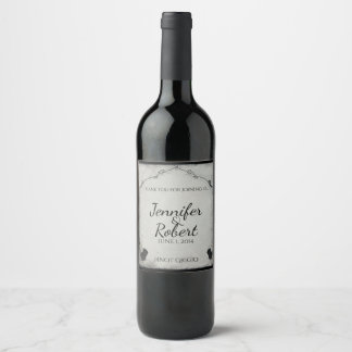Gothic Black Rose Trellis Wine Label