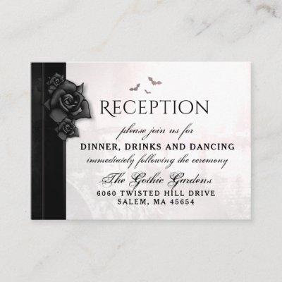 Gothic Black Roses Bats Reception Cards 3.5 x 2.5