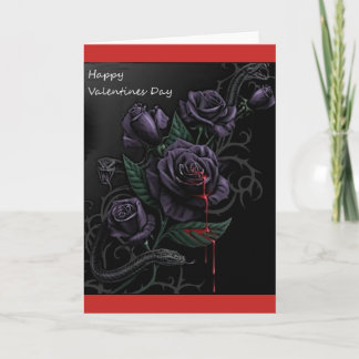 Gothic Black Roses Blood Valentines Day Card