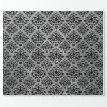 Gothic Black Skull Grunge Damask Pattern Wrapping Paper