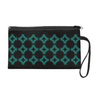 Gothic Black Turquoise Bagettes Wristlet Bag