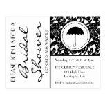 Gothic Black & White Flourish Bridal Shower Invite Post Card