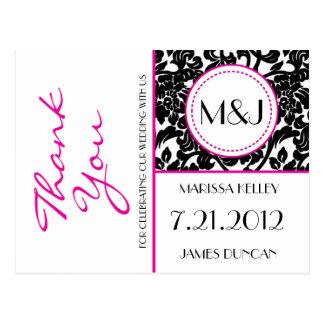 Gothic Black & White/Pink Flourish Thank You Postcard