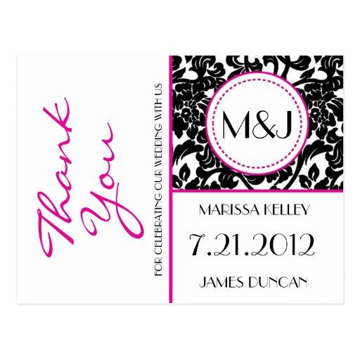 Gothic Black & White/Pink Flourish Thank You Post Cards