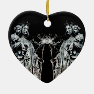 Gothic blessed mother and child ceramic ornament