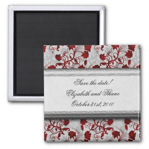 Gothic Blood Flowers Save the Date 2 Inch Square Magnet