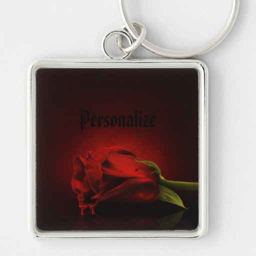 Gothic Bloody Red Rose Personalized Key Chain