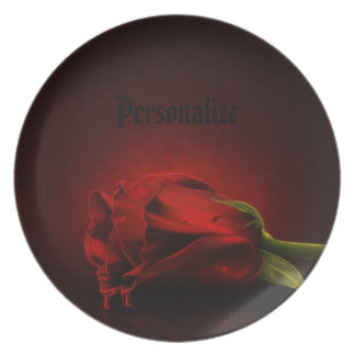 Gothic Bloody Red Rose Personalized Plate