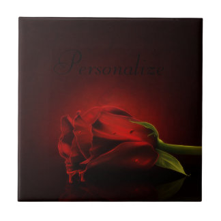 Gothic Bloody Red Rose Personalized Tile