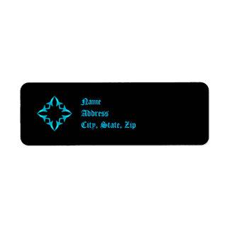Gothic blue and black kaleidoscope return address label
