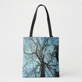 Gothic Blue Black Tree Abstract Tote Bag