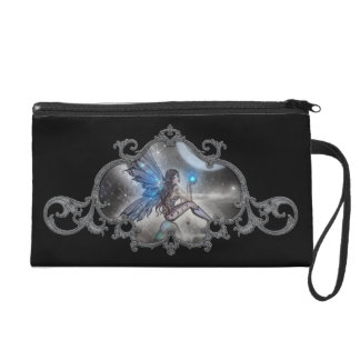 Gothic Blue Fairy Satin Mini Purse Wristlets