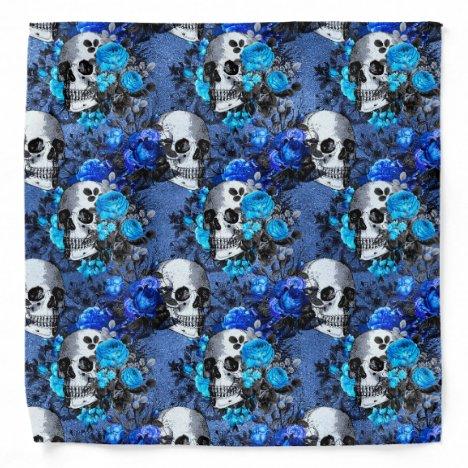 Gothic Blue Skull And Roses Pattern Bandana