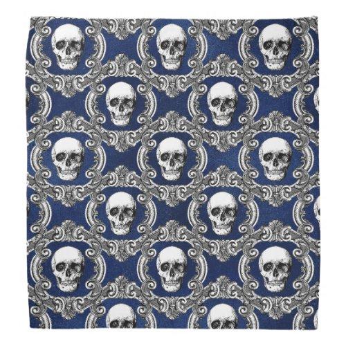 Gothic Blue Skull Pattern Bandana