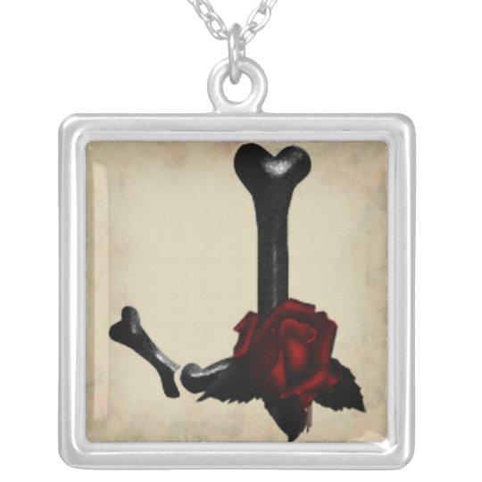 Gothic Bones and Roses Monogram J Necklace