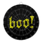 gothic boo yellow and black dartboard with darts