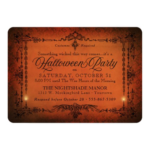 Gothic Border Halloween Party  Orange and Black Invitation
