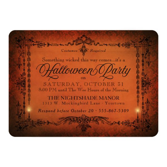 Gothic Border Halloween Party | Orange and Black Invitation