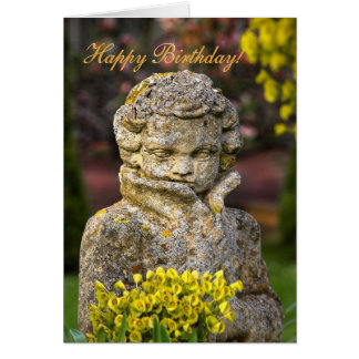 Gothic Boy Statue with Posy, Happy Birthday Greeting Card