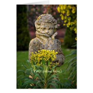 Gothic Boy Statue with Real Spring Posy Greeting Card