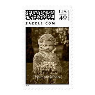 Gothic Boy Statue with Real Spring Posy Postage Stamps