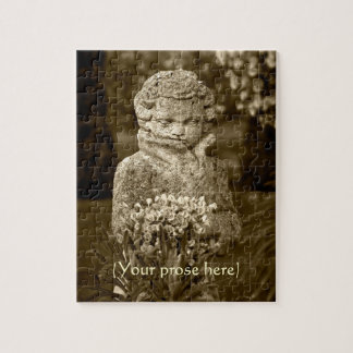 Gothic Boy Statue with Real Spring Posy Puzzle