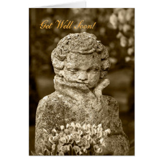 Gothic Boy Statue with Spring Posy - Get Well Soon Greeting Card