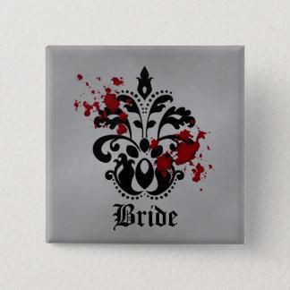 Gothic bride damask motif button