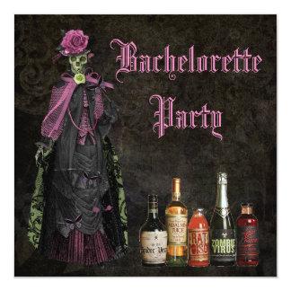 Gothic Bride Skeleton & Poison Bachelorette Party Invitation