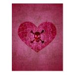 Gothic Broken Heart Skull Postcard