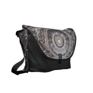 Gothic Bronze Medallion Abstract Metal Look Courier Bag