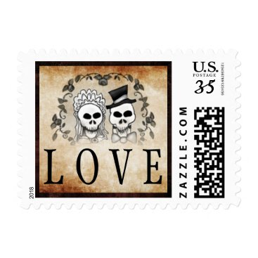 Halloween Themed Gothic Brown Wedding LOVE Halloween Skeletons Postage