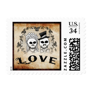 Gothic Brown Wedding LOVE Halloween Skeletons Postage