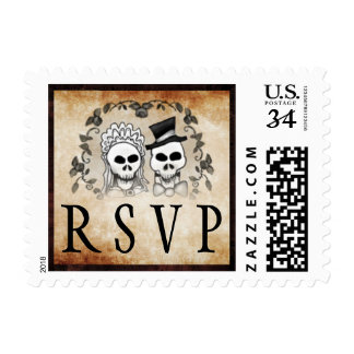 Gothic Brown Wedding RSVP Halloween Skeletons Postage
