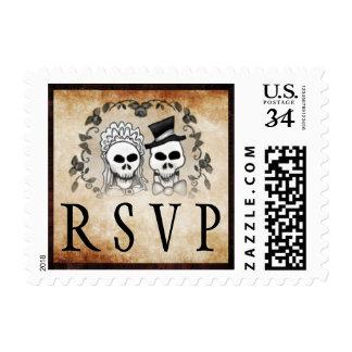 Gothic Brown Wedding RSVP Halloween Skeletons Postage Stamp