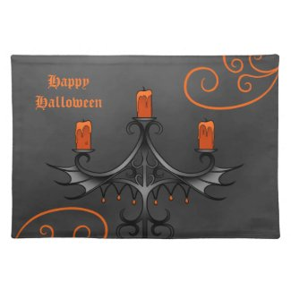 Gothic candelabra Halloween Cloth Placemat