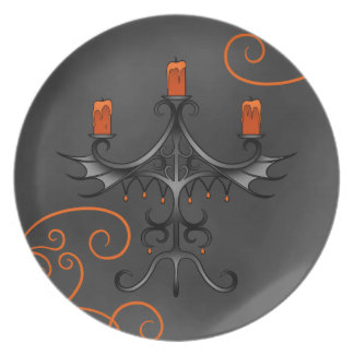 Gothic candelabra Halloween Party Plate