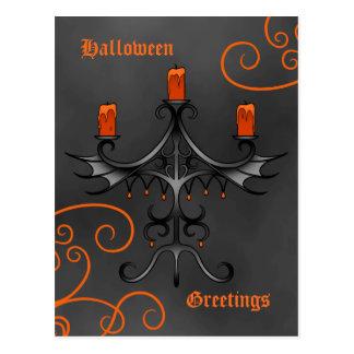 Gothic candelabra Halloween Postcard