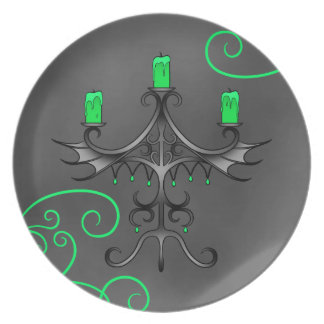Gothic candelabra Halloween pretty green and gray Party Plate