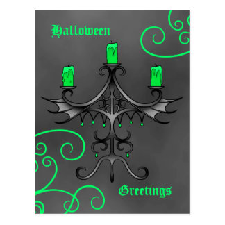 Gothic candelabra Halloween pretty green and gray Postcard