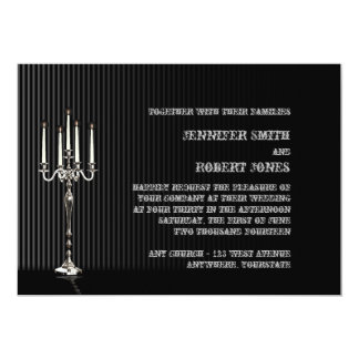 Gothic Candelabra on Black and Silver Pinstripe 5x7 Paper Invitation Card