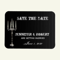 Gothic Candelabra on Black Silver Save the Date Magnet